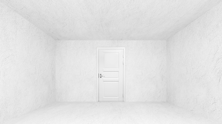 Abstract empty interior with concrete walls and white closed door photo