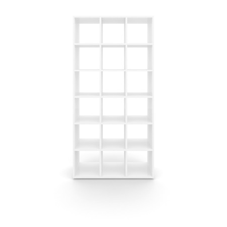 Empty white cabinet with square cells isolated on white background photo