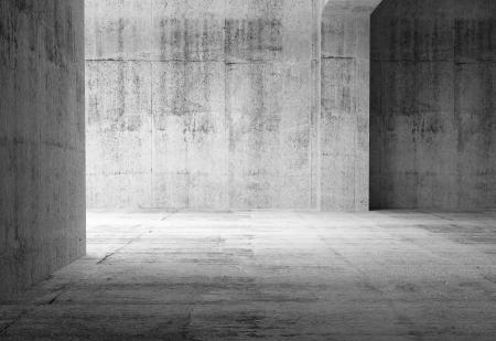 空の暗い抽象的なコンクリートの部屋のインテリア。3 d イラスト