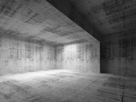 빈 어두운 추상 콘크리트 룸 인테리어. 그림 3 차원 렌더링