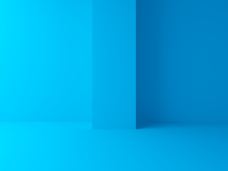 Abstract blue architecture background. Empty 3d interior Stock Photo