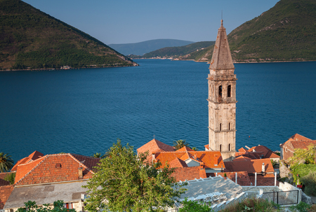 St. Nicholas Cathedral above Kotor Bay. Perast town, Montenegro photo
