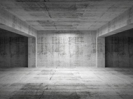 空の暗い抽象的なコンクリートの部屋の視点のインテリア。3 d イラスト 写真素材