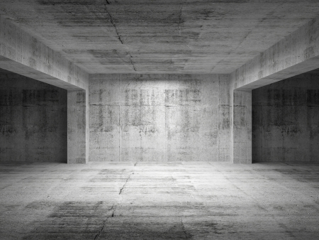 dirty room: Empty dark abstract concrete room perspective interior. 3d illustration