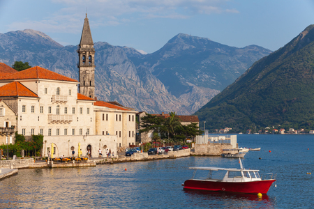 Landscape of old town Perast in Kotor bay, Montenegro photo