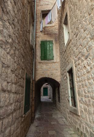 Empty street fragment. Old town Kotor, Montenegro photo
