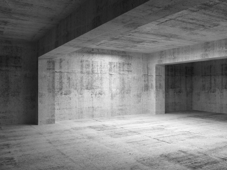 concrete background: Empty abstract dark concrete room interior. 3d render illustration