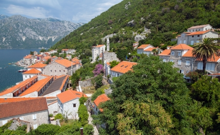 Coastal town landscape. Perast, Kotor Bay, Adriatic sea, Montenegro photo