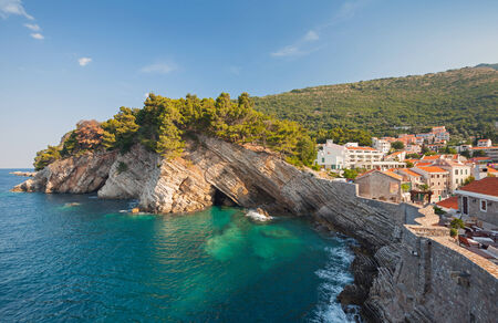 Adriatic sea, coastal landscape. Petrovac town, Montenegro photo