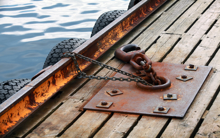 Mooring equipment on wooden pier in Norway Sea photo