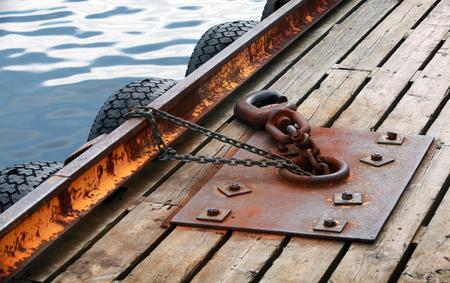 Mooring equipment on wooden pier in Norway Sea Stock Photo