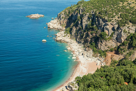 Montenegro. Wild beach on Adriatic Sea coast photo