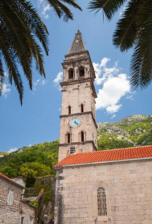 Tower of St. Nicholas Church in Perast, Montenegro photo
