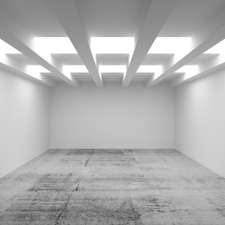 celling: 3d abstract architecture background. Empty room interior with illumination