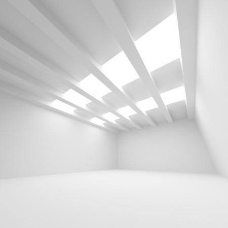 celling: White abstract architecture background  Empty room interior with illumination