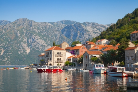 balkan: Adriatic sea, Montenegro, Bay of Kotor  Perast town panoramic landscape