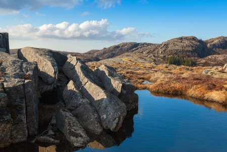Small still lake and stones in Norwegian mountains  photo