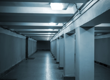 underground passage: Underground passage with lights and concrete columns  Stock Photo