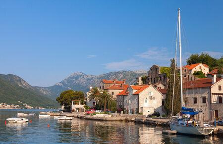 Perast town embankment, Bay of Kotor, Montenegro photo