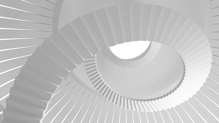 spiral stairs: White spiral stairs goes up in round interior. 3d illustration Stock Photo