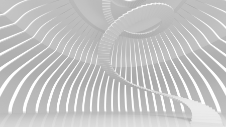 White spiral stairs in abstract round interior. 3d render photo