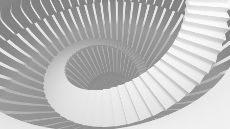 White spiral stairs in abstract round interior. 3d illustration illustration