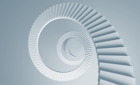 Spiral stairs perspective background 3d illustration toned in blue