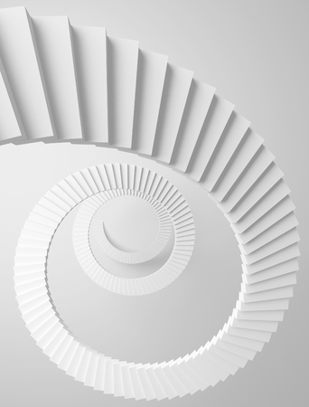 Spiral stairs perspective background. Monochrome 3d illustration