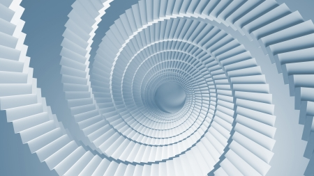 Blue 3d illustration background with spiral stairs perspective illustration