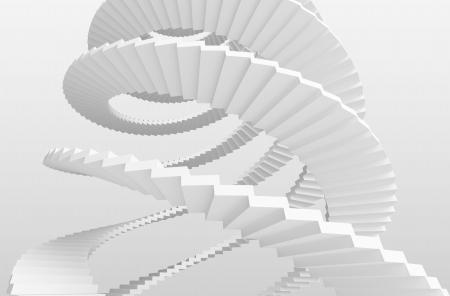 bajando escaleras: Blanco espiral escaleras sobre fondo gris. 3d ilustraci�n