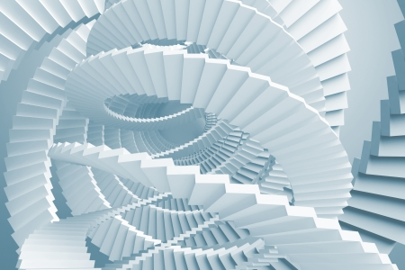 spiral stairs: Abstract with light blue spiral stairs maze Stock Photo