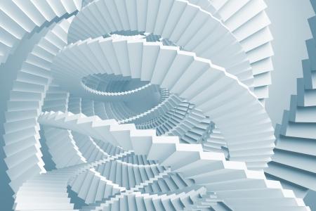 laberinto: Abstracto con azul claro laberinto escaleras de caracol Foto de archivo