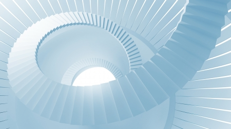 Spiral stairs in blue abstract round interior. 3d illustration illustration