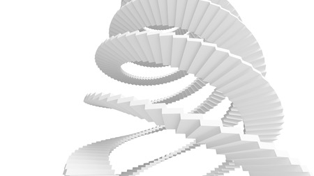 White spiral stairs isolated on white background Stock Photo