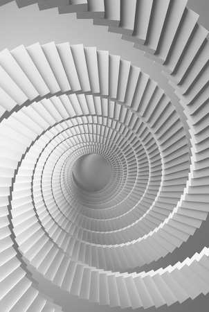 3d illustration background with white spiral stairs perspective illustration