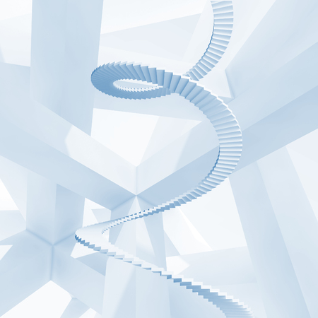 Abstract blue 3d background with spiral stairs photo