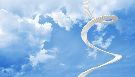 White spiral stairs goes up in blue cloudy sky photo