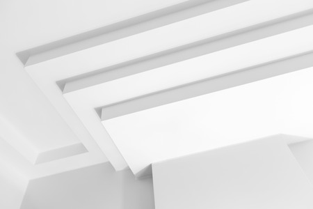 celling: Abstract white architecture fragment with geometric decoration elements Stock Photo