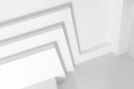 celling: Abstract white architecture background with geometric decoration elements Stock Photo
