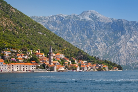 Perast old town landscape, Bay of Kotor, Montenegro photo