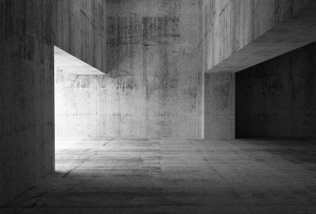 空の暗い抽象的なコンクリートの部屋のインテリアの 3 d イラストレーション