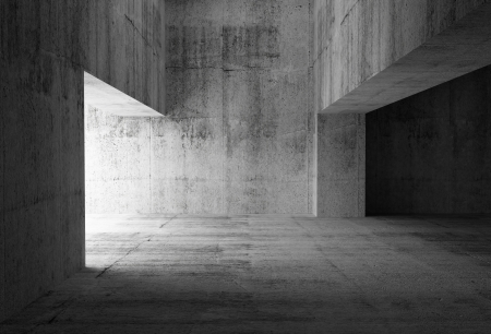 Empty dark abstract concrete room interior  3d illustration Stock Photo