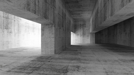 partition: Abstract empty gray concrete interior. 3d illustration