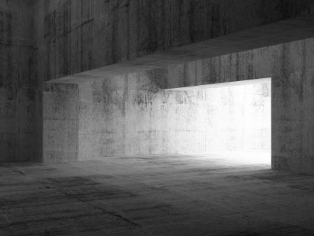 Abstract empty dark concrete interior. 3d illustration Stock Photo