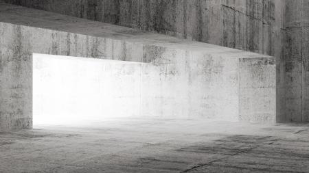Empty dark concrete interior with gate. 3d illustration