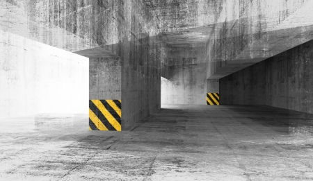 Abstract grunge concrete parking interior. 3d illustration Stock Illustration - 25081382