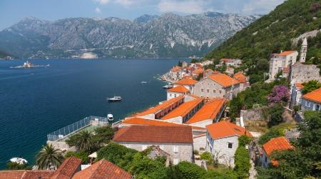 Adriatic sea coastal town landscape. Perast, Kotor Bay, Montenegro photo