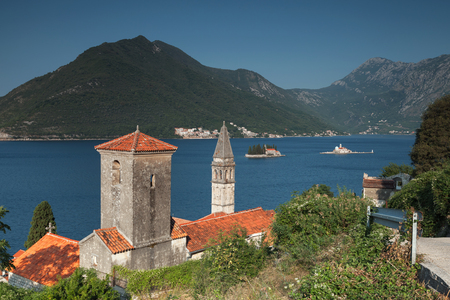 Bay of Kotor, Montenegro. Ancient Churches in Perast town photo