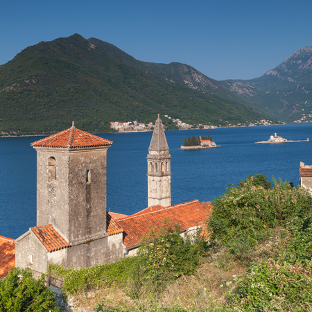 Ancient Churches in Perast town. Bay of Kotor, Montenegro photo