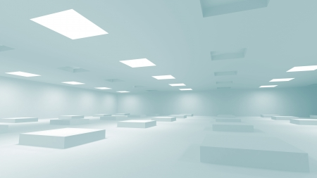 illuminating: Abstract blue 3d interior with square lights  Stock Photo